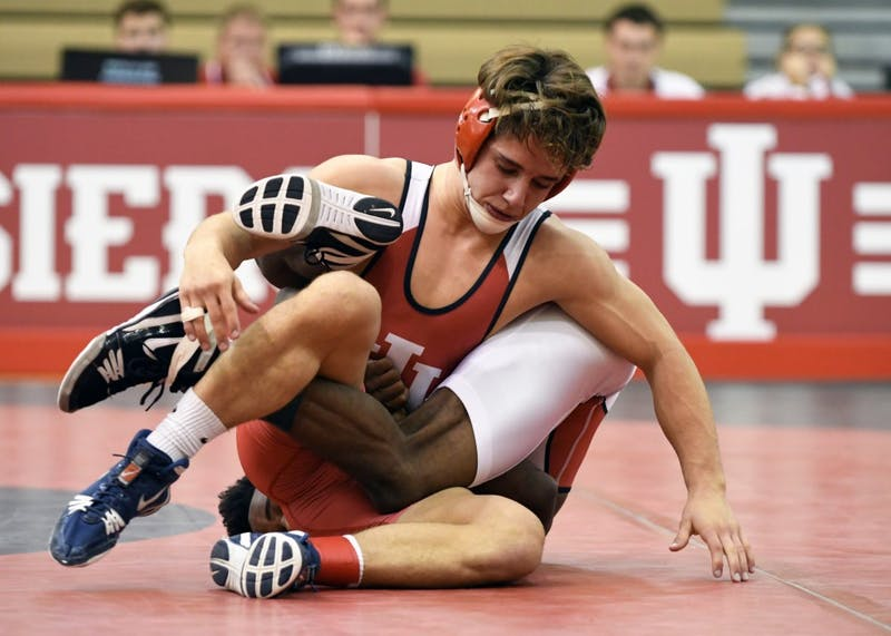 Sophomore Liam Cronin and junior Elijah Oliver wrestle in the Cream & Crimson Dual on Oct. 26, 2017, in the University Gym. Oliver and the Hoosiers fell to Illinois and Purdue this weekend.