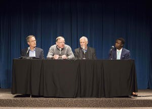 Panel members met to discuss climate change on Thursday evening in the Whittenberger Auditorium. Jeffrey White, second from the left and a professor and researcher of climate change, was the first to speak.