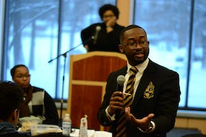 Senior Calvin Sanders discusses diversity at the Martin Luther King Jr. Day Unity Summit. The summit was put on Monday at the Neal-Marshall Black Culture Center.