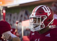 Sophomore running back Devonte Williams celebrates a touchdown with teammates against Georgia Southern. IU football lost 17-9 to No. 18 Michigan State Saturday.