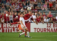 Freshman midfielder Griffin Dorsey looks on after kicking the ball against Notre Dame on Tuesday at Bill Armstrong Stadium. Dorsey has been an impressive part of IU's freshman class this season.