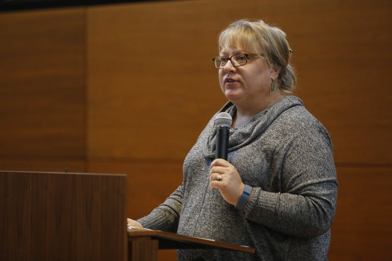 Elizabeth Dunn, associate professor in the School of Global and International Studies, speaks about the danger of scapegoating in terrorist situations, like the one that took place in Paris in 2015, during a teach-in at the School of Global and International Studies. Dunn headed an effort to bring refugees into Bloomington, but those efforts have been put on hold.