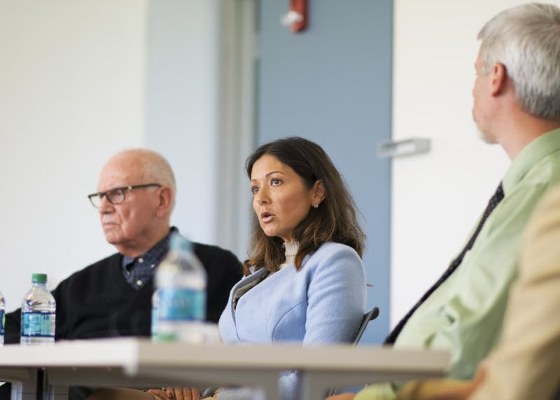 Alexandra Christina, the countess of Frederiksborg in Denmark, discusses how to have productive conversations with people who have conflicting values. The countess, Reverend Forrest Gilmore and Distinguished Scholar Lee Hamilton participated in a panel discussion on ethical leadership Thursday afternoon in the Global and International Studies Building.