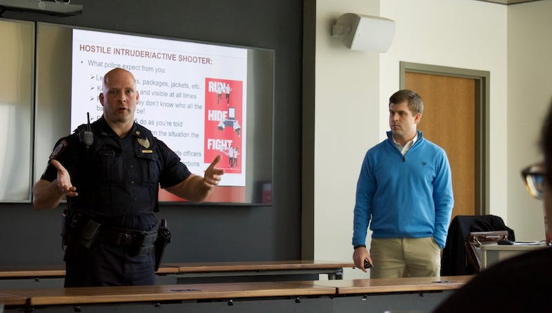 "IU Police Department Sgt. Brian Oliger talks about the ""Fight"" component of the ""Run-Hide-Fight"" model of responding to an active aggressor situation. Oliger and Steve Balko, assistant director of Emergency Management and Continuity at IU-Bloomington, taught a class on active aggressor response Thursday."