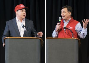 "Congressmen Todd Rokita, R-4th District, and Luke Messer, R-6th District, deliver remarks at the state Republican party's Congress of Countries on Saturday. Neither of the two front-runners for the Republican nomination in Indiana's 2018 Senate primary disavowed President Trump's reported complaints about accepting immigrants from ""shithole countries."""