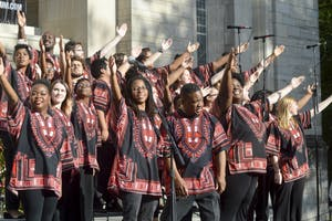 The African American Choral Ensemble performs a variety of songs composed by African Americans as Bloomington families and students dance along in 2016.