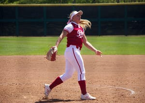 Then-freshman pitcher Josie Wood throws a pitch last season against Ohio State University at Andy Mohr Field.