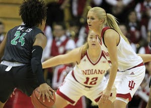 Senior Guard Tyra Buss plays on the defense against North Texas on Tuesday night at Simon Skjodt Assembly Hall. Buss and the Hoosiers picked up their second win in a row Saturday night, defeating Northern Kentucky.