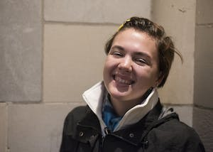 Senior Gaby Anderson sits outside the Indiana Memorial Union on Wednesday night. Anderson is of Kiowa decent.