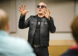 Drummer Kenny Aronoff reveals life stories, discusses music theory and shares tips on professionalism in the music industry during his meet and greet hosted by Project Jumpstart on Saturday morning in the Musical Arts Center. Project Jumpstart is a student-led initiative in the Jacobs School of Music that aims to teach music students entrepreneurial skills to take charge in their future careers in the music industry.