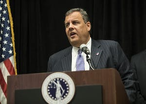 New Jersey Gov. Chris Christie speaks at a press conference at the Sheraton Hotel in Indianapolis on Monday. Christie was the keynote speaker at the 8th Annual Prescription Drug Abuse Symposium.
