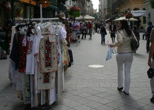 Shoppers can find locally made gifts, one-of-a-kind clothing and intricately beaded linens along Budapest's streets.