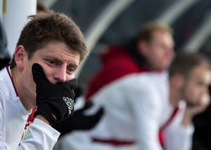 Junior midfielder Trevor Swartz reacts after IU lost 1-0 during overtime to Stanford at the NCAA Men's Soccer Tournament Championship game on Dec. 10 in Chester, Pennsylvania. Stanford scored a goal in the 103rd minute of the game.