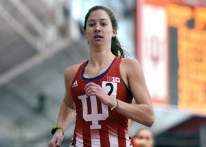 Junior Haley Harris competes in the 800-meter run against Tennessee Jan. 6 in Harry Gladstein Fieldhouse. Harris and the Hoosiers competed in the Gladstein Invitational this weekend.