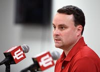Head Coach Archie Miller talks during media availability last Thursday afternoon at Simon Skjodt Assembly Hall. Miller has already begun to implement a defense-first mentality with the men's basketball team.