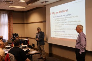 Simon Brassell, Matt Zink and Ed Hirt are members of the male faculty working at IU. The three men conducted an ally workshop for gender equity April 23, in the Walnut Room at the Indiana Memorial Union.