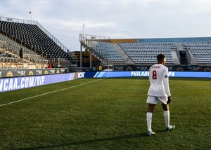 Freshman forward Mason Toye exits the field after the NCAA College Cup on Dec. 10 at the Talen Energy Stadium in Chester, Pennsylvania. Toye was selected seventh overall by Minnesota United FC in the 2018 MLS SuperDraft on Friday.