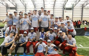 The men's track and field team celebrated after winning the Big Ten Championship for the first time in five seasons Feb. 26, 2017. The Hoosiers will compete in the Power 5 Invitational this weekend in Michigan.