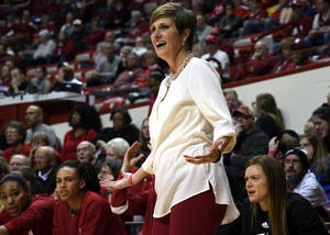IU Coach Teri Moren reacts to a foul not being called on Louisville on Thursday evening in Simon Skjodt Assembly Hall. IU lost to Louisville, 72-59, to fall to 4-3 on the season.