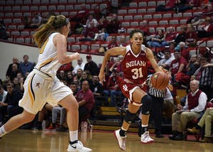 Sophomore forward Bre Wickware drives to the basket against Gannon University Monday evening in Simon Skjodt Assembly Hall. IU defeated Gannon, 82-38, in their only exhibition game of the season.