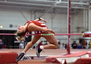 Junior Taylor Pennington competes in the high jump against the University of Tennessee on Jan. 6 in Harry Gladstein Fieldhouse at IU. The Hoosiers will compete in the Penn Relays on April 26 through 28 in Philadelphia.