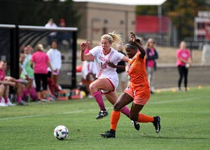 Sophomore midfielder Chandra Davidson chases down the ball against Illinois on Oct. 1 at Bill Armstrong Stadium. Davidson recorded six goals and two assists for IU women's soccer this season.