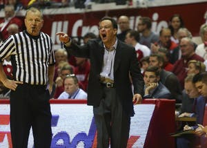 IU Coach Tom Crean disputes a call in a game against Michigan in February 2017. Crean was announced as the next head coach of Georgia on Thursday night.
