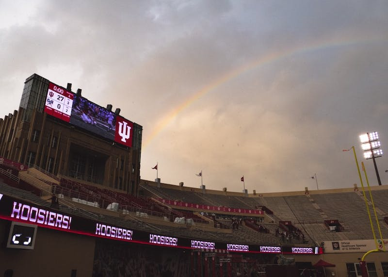 A rainbow stretches over Memorial Stadium after heavy rain during the game against Charleston Southern on Oct. 7. The IU football program announced Tuesday that it will host Indiana State for games in 2025 and 2027.