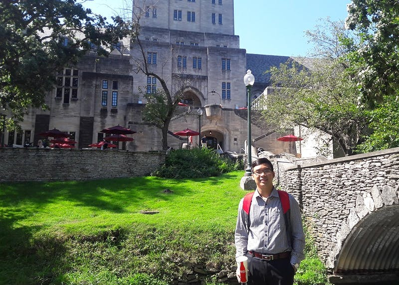Anh Vu poses in front of the Indiana Memorial Union. As a graduate student from Vietnam, he said he got help transitioning to IU from the Bloomington International Student Ministries.