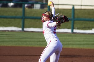 Pitcher Tara Trainer strikes out all three OSU batters. IU beat Ohio State, 4-1, March 23 at Andy Mohr Field. Trainer pitched a no-hitter to help IU sweep Penn State this weekend.
