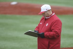 IU head coach Chris Lemonis monitors practice at Bart Kaufman Field. It was announced Sunday that Lemonis will be leaving the program for Mississippi State.