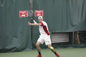 Then-sophomore Oliver Sec, now a junior, returns a shot in his singles match against Princeton during the 2017 season. IU will face Purdue on Feb. 21 in West Lafayette, Indiana.