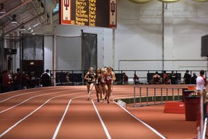 The women's track and field team competes in the mile at IU's dual meet against Purdue Saturday, Jan. 14, 2017 in the Harry Gladstein Fieldhouse.