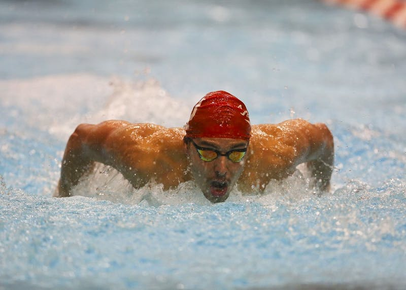Junior swimmer Vini Lanza competes in the men's 200m butterfly heat during IU's meet against Louisville last season. Lanza is a part of the IU men's swimming and diving team that has gotten off to a 6-0 start this season.