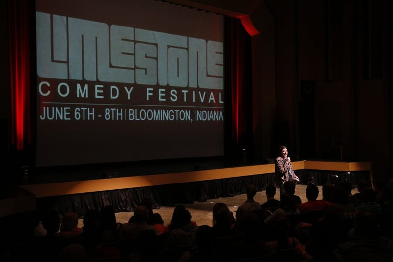 "Comedian Doug Benson introduces a taping of the ""Doug Benson Movie Interruption"" during the Limestone Comedy Festival on June 8, 2013, at the Buskirk-Chumley Theater. This year's festival will run May 31 - June 2."