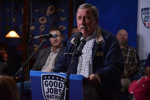 Former Indianapolis United Steelworkers President Chuck Jones spoke out against Carrier layoffs at a press conference in Sully's Bar and Grill on Wednesday night. Jones said the selfishness of the Trump family and large corporations are contributing to the culture of job outsourcing.