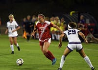Junior forward Maya Piper dribbles the ball against Northwestern Thursday evening at Bill Armstrong Stadium. Piper scored IU's only goal in a 2-1 loss to Northwestern.