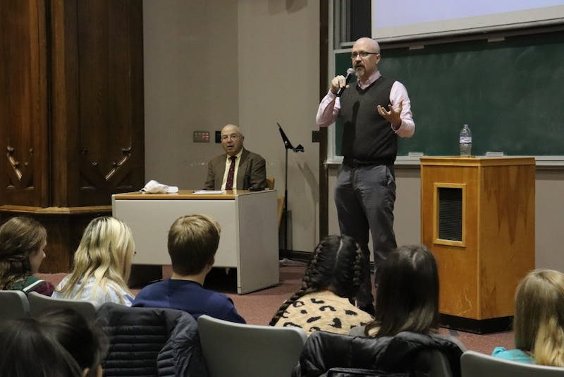 <p>Dan Canon, a 9th District congressional Democratic candidate, introduces himself and his platform's beliefs to IU's students. Canon discussed his ideas on health care for everyone and how to fight the opioid epidemic.&nbsp;</p>