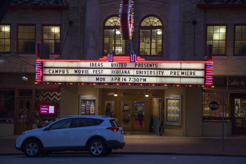 Films play inside the Buskirk-Chumley Theater for the 2018 Campus Film Fest.