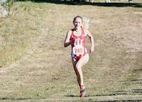 Junior Katherine Receveur runs during the Sam Bell Invitational on Sept. 30 at the IU Championship Cross Country Course. Receveur has received three Big Ten Athlete of the Week awards this season for women's cross-country.