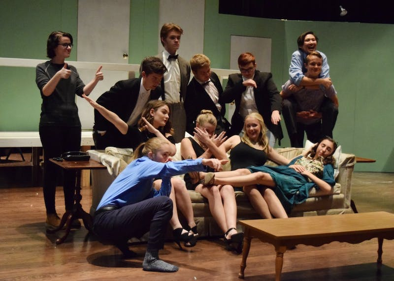 "The ""Rumors"" cast has fun with group photos before rehearsal on Thursday. ""Rumors"" will run Nov. 17 through 19 at the Ivy Tech John Waldron Arts Center."