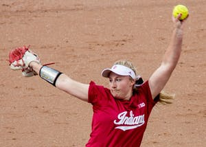 Then-freshman pitcher Josie Wood throws a pitch during a 2016 game against Indiana State University at Andy Mohr Field. Now a redshirt sophomore, Wood threw pitches during IU's fall season after missing all of the 2017 season with an injury.