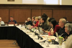 The Bloomington Faculty Council meets in Presidents Hall on March 20. The meeting began with memorials to Ernest W. Horn and Grahame Bennett, who were both professors at IU, followed by reports from Faculty President Alex Tanford and Provost Lauren Robel.
