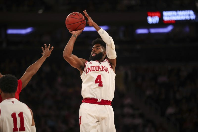 Senior guard Robert Johnson shoots the ball during the Hoosiers' game against the Rutgers Scarlet Knights on Thursday during the Big Ten Tournament at Madison Square Garden in New York City. The Hoosiers were falling to the Scarlet Knights at halftime, 29-28.