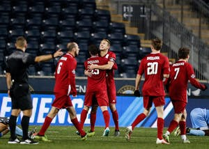 The Hoosiers celebrate after beating North Carolina 1-0 during the NCAA semifinal game on Dec. 8 at Talen Energy Stadium in Philadelphia. The Hoosiers will play Stanford on Sunday for the NCAA title.