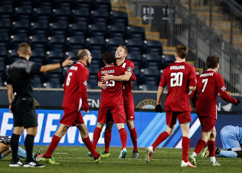 The Hoosiers celebrate after beating North Carolina 1-0 during the NCAA semifinal game on Dec. 8 at Talen Energy Stadium in Philadelphia. IU went on to suffer it's only loss of the year to Stanford in the National Title game 1-0.