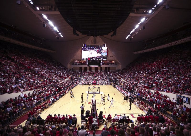 IU men's basketball plays the Iowa Hawkeyes in Simon Skjodt Assembly Hall on Dec. 4, 2017. Saint Mary's graduate transfer Evan Fitzner announced his commitment to IU on Thursday.