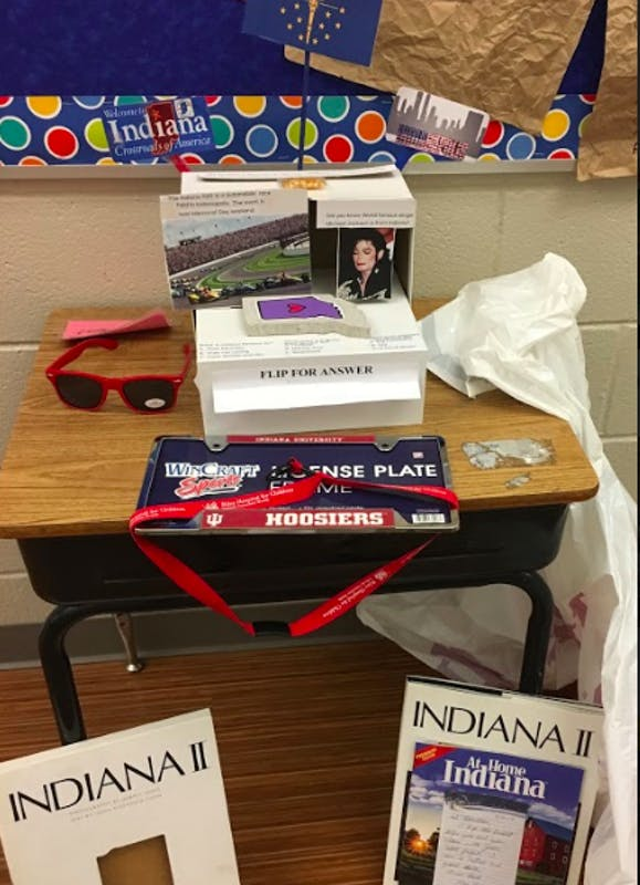 A third-grade student, Sebastian, from The Langley School in McLean, Virginia, displays his project about the state of Indiana. Readers of the Indiana Daily Student, as well as others from around the state, submitted items and provided information to Sebastian to help him with his project.