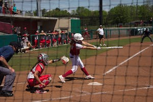 Freshman Taylor Uden swings at a pitch during the 2016 season against Ohio State. Uden got things going for the Hoosiers in game one of their series with Maryland this weekend.