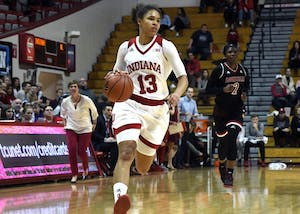 Freshman guard Jaelynn Penn brings the ball up the court on Nov. 30 against Louisville in Simon Skjodt Assembly Hall. Penn was named women's basketball Big Ten Freshman of the Week.